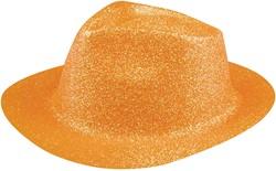 Disco Glitter Hoed Neon Oranje