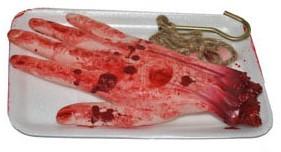 Nep Hand met Bloed op een schaaltje