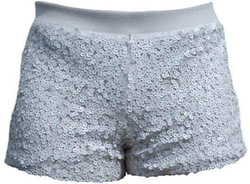 Hotpants Pailletten Wit