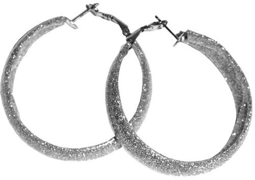 Oorbellen Glitter Zilver Smal