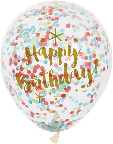 Party Ballonnen Happy Birthday met Confetti 6st.