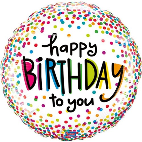 Folieballon Happy Birthday Sprinkled Dots (46cm)