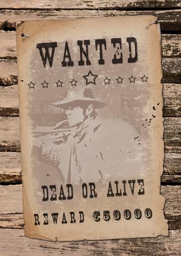 Wild West Wanddecoratie Wanted (42x30cm)