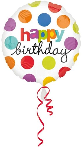 Folieballon Happy Birthday Stippen (43cm)