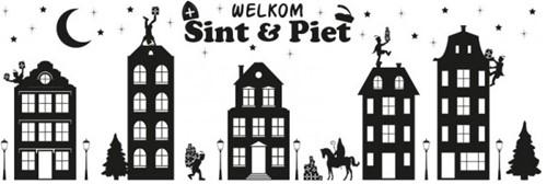 Raamstickers Sinterklaas Huisjes (75x25cm)