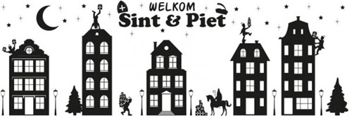 Raamstickers Sinterklaas Huisjes (150x50cm)