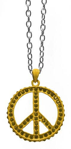 Peace Ketting Geel + Strass