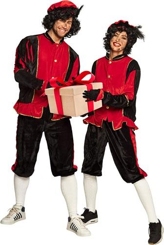 Zwart Pietenpak Zwart-Rood voor Volwassenen