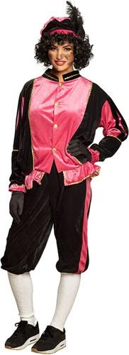 Zwart Pietenpak Zwart-Roze voor Volwassenen