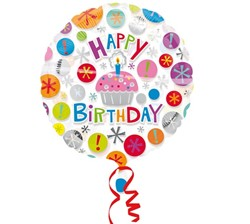 Folieballon Happy birthday cupcake
