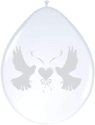 Ballonnen 8st Duif wit metalic