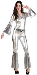 Dames Disco Catsuit Zilver
