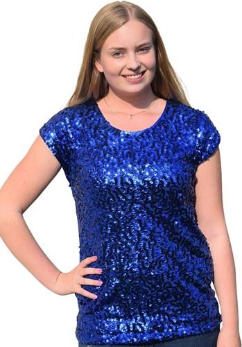 Shirt Plussize Pailletten Blauw