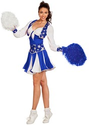 Cheerleaderspakje Luxe Blauw-Wit voor dames