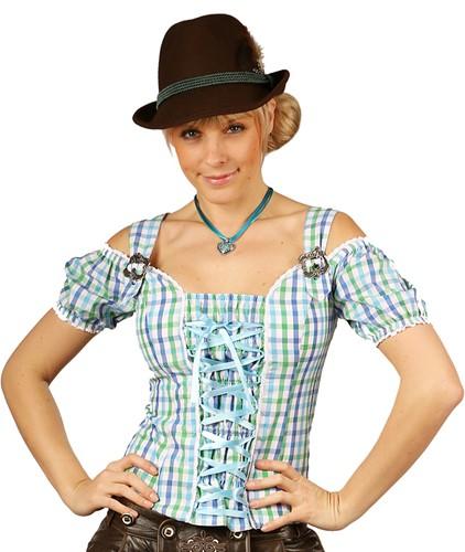 Tiroler Dames Blouse Claire Blauw/Groen
