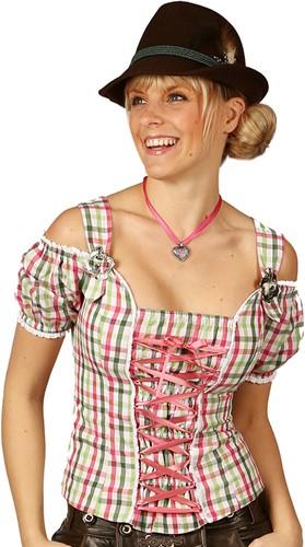 Tiroler Dames Blouse Claire Pink/Groen