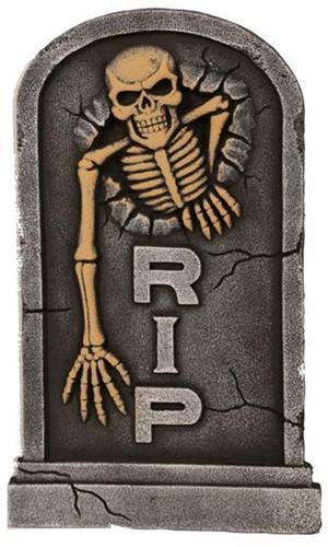 Decoratie Grafsteen RIP Skelet 56cm