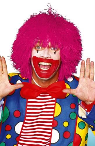 Clownspruik draadjes Roze