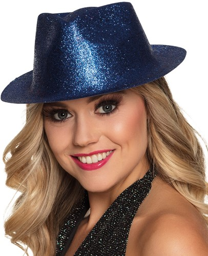 Disco Glitter Hoed Blauw-2