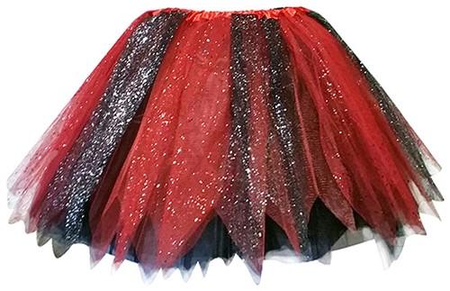 Glitter Tule Rokje Zwart/Rood