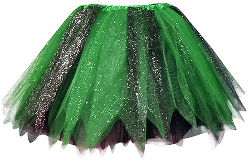 Glitter Tule Rokje Zwart/Groen