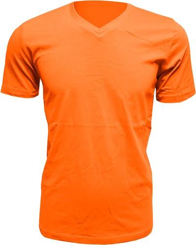 Heren T-Shirt V-Hals Oranje (Slim Fit)