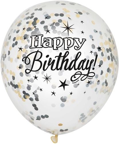 Glamour Ballonnen Happy Birthday met Confetti 6st.