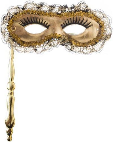 Venetiaans Masker Goud op Stokje