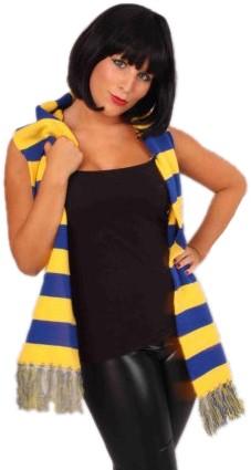 Sjaal Gebreid Blauw/Geel 160x18cm