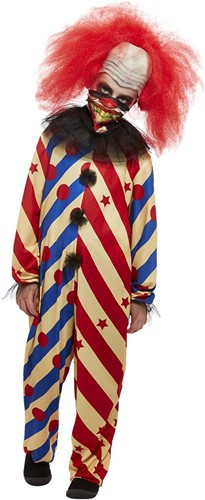 Kinder Halloweenkostuum Creepy Clown Rood-Blauw