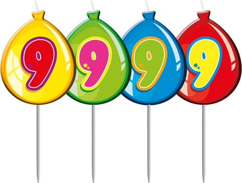 Kaarsje 9 Balloons
