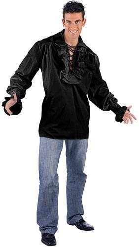 Heren Piratenblouse Luxe Zwart