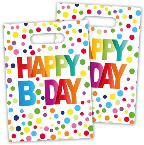 Feestzakjes Happy Birthday Stippen (8st.)