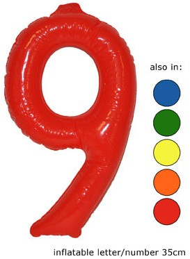 Opblaas Cijfer 9 35cm Oranje