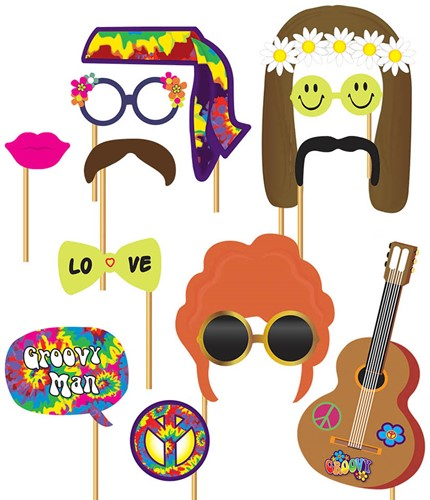 Photo Booth Props Hippie (12 delig)