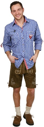 Trachtenhemd Slim-Fit Blauw/Rood Luxe