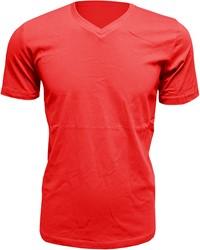 Heren T-Shirt V-Hals Rood (Slim Fit)