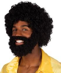 Afro Pruik Rufus Zwart met baard en snor