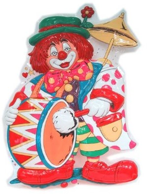 Wanddeco Clown met Trom (55x40cm)