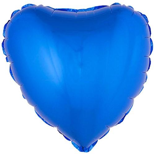 Folieballon Hartje Metallic Blauw (52x46cm)