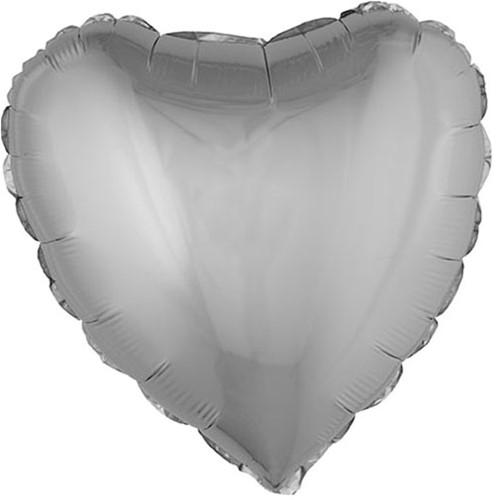Folieballon Hartje Metallic Zilver (52x46cm)