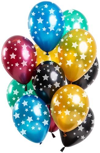 Ballonnen Metallic met Sterren 12st. (30cm)