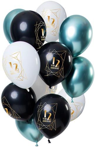 Ballonnen Jubileum 12,5 Jaar Luxury Emerald 12st. (30cm)