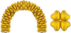 Cluster Folieballonnen Hartjes Goud 10st.
