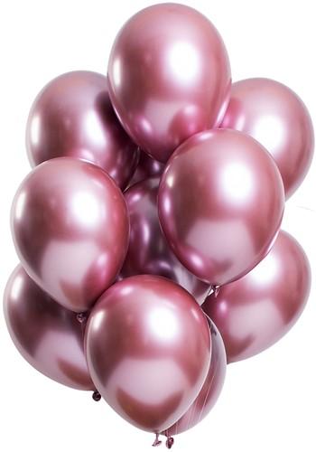 Ballonnen Mirror Chrome Pink 12st. (33cm)