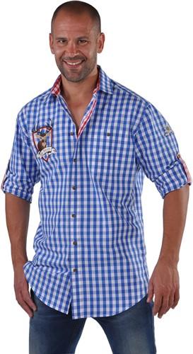 Tiroler Overhemd Blauw/Wit Hirsch (100% katoen)