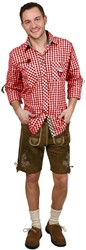 Trachtenhemd Slim-Fit Rood/Bruin Luxe
