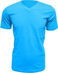 Heren T-Shirt V-Hals Turquoise (Slim Fit)