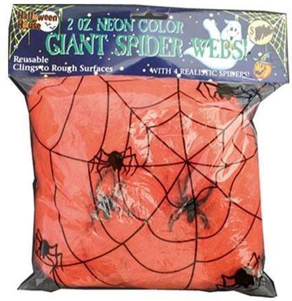 Spinnenweb 50gr. met 2 spinnen Oranje