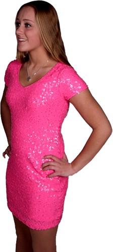 Jurkje Pailletten Diva Neon Pink